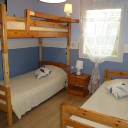 La chambre secondaire : lits de 90x190 cm - Location de vacances - Saint-Briac-sur-Mer