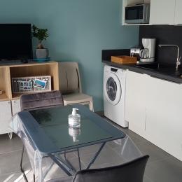 La cuisine toute équipée dans la pièce de vie - Studio Hermine - Location de vacances - Saint-Malo