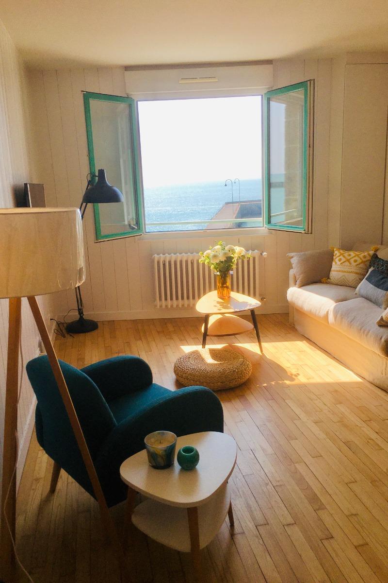 Chambre double vue mer - Appartement Bleu Cancale - Outremer sur le Port de la Houle - Location de vacances - Cancale