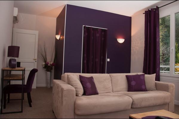 Salon Suite Cassis canapé pour 2 personnes - Chambre d'hôtes - La Buisse