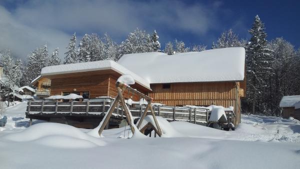Le grand chalet et les aires de jeux enfants sous la neige - Location de vacances - Plateau-des-Petites-Roches