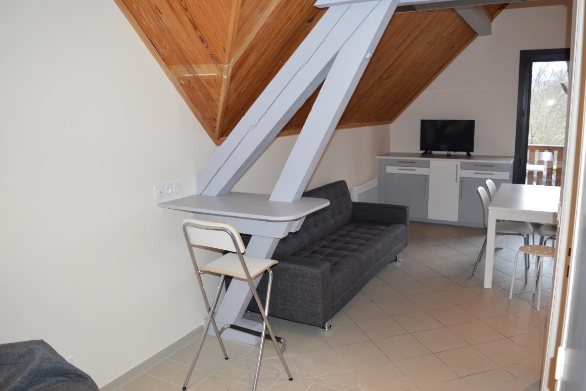 coin informatique (prise usb et éthernet, wifi) et coin salon tv et dvd - Location de vacances - Plateau-des-Petites-Roches