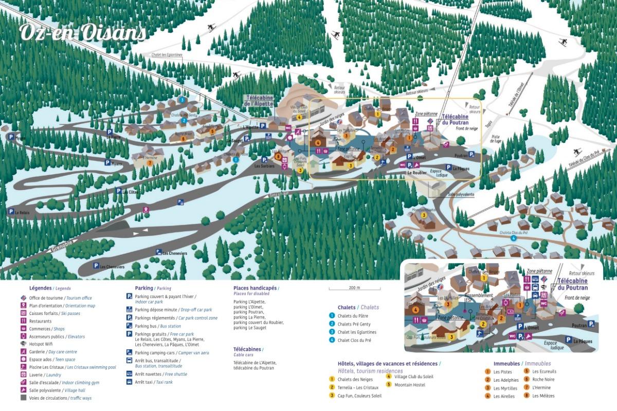 Plan de la station en Hiver - Location de vacances - Oz