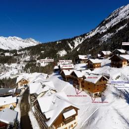 Secteur chalets Pré-Genty A droite: accès/départ à ski / Chalet Les Eglantines - Location de vacances - Oz