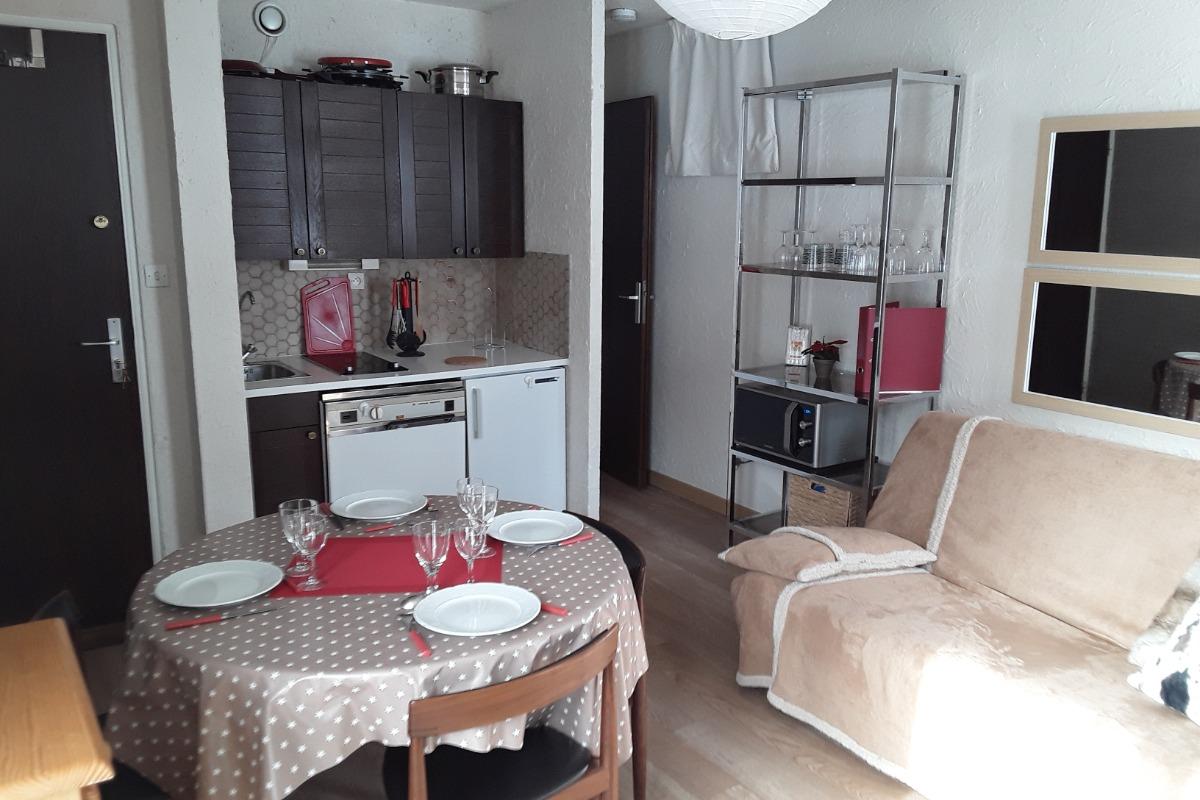Pièce à vivre avec son coin cuisine, porte d'accès à la chambre... - Location de vacances - les Deux Alpes