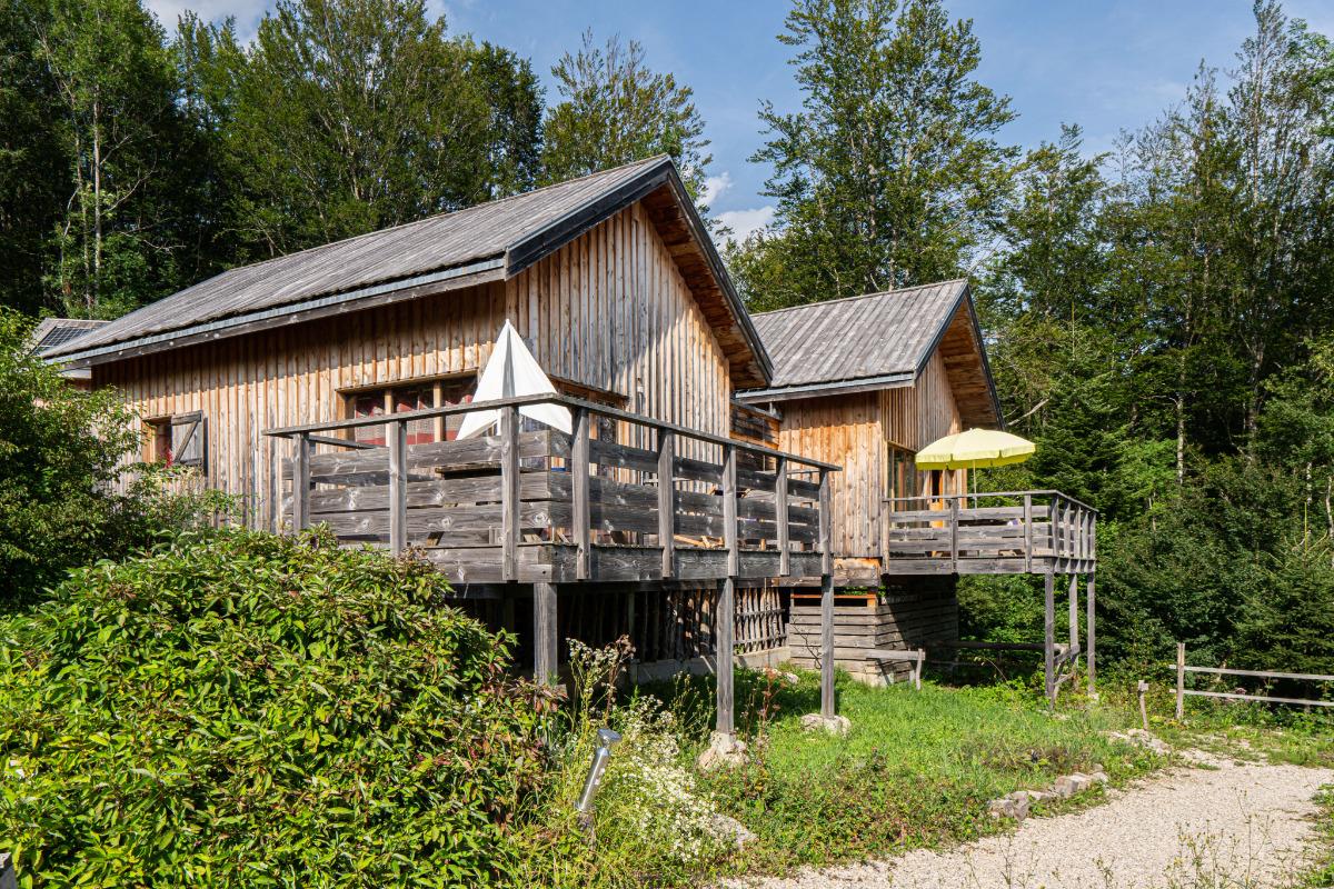 Chalet Eté vu de face au premier plan avec à côté le chalet jumelé Hiver - Location de vacances - Plateau-des-Petites-Roches