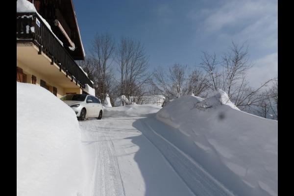 la baie vitrée, l'hiver - Location de vacances - Foncine-le-Haut