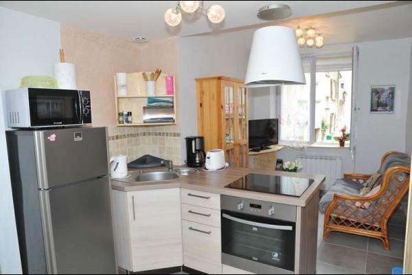 Cuisine intégrée ouverte sur salon - Location de vacances - Salins-les-Bains