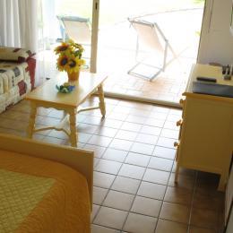 Chambre 1 salon donnant sur terrasse couverte - Location de vacances - Saubion