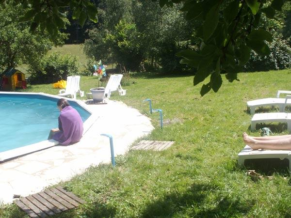 la piscine et ses bains de soleil - Location de vacances - Montregard