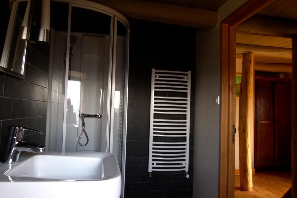 Salle de bains avec douche et un lavabo - Chambre d'hôtes - Saint-Bérain