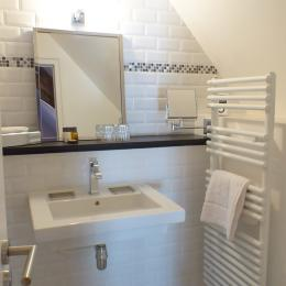 Salle d'eau avec produits d'accueil (shampoing/douche, lait pour le corps, savon), miroir grossissant, sèche cheveux. - Chambre d'hôtes - Le Croisic