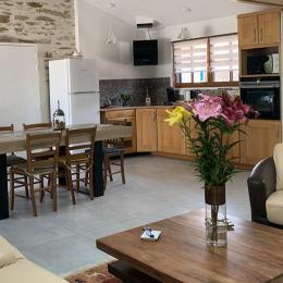Pièce de vie spacieuse avec coin cuisine équipée - Location de vacances - Saint-Michel-Chef-Chef