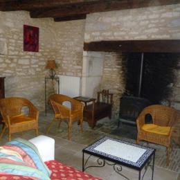 le salon et la cheminée - Location de vacances - Pinsac