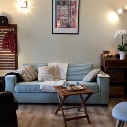 Salon cosy et confortable, cheminée. - Location de vacances - Donville-les-Bains