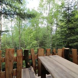 Terrasse, vue forêt - Galilée - Les Cabanes du Lac de Pierre Percée - Chambre d'hôtes - Badonviller