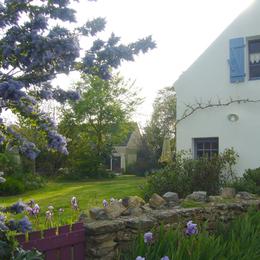 le jardin vu de la rue du village - Chambre d'hôte - Le Palais