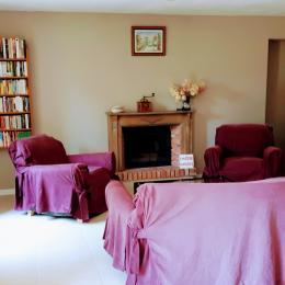 Le salon et la cheminée - Location de vacances - Plumelec