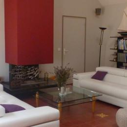 Salon avec cheminée, bibliothèque et musique - Location de vacances - Arzon
