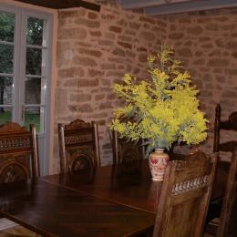 le séjour illuminé par les mimosas, en hiver, sur l'Ile aux Moines - Location de vacances - Île-aux-Moines
