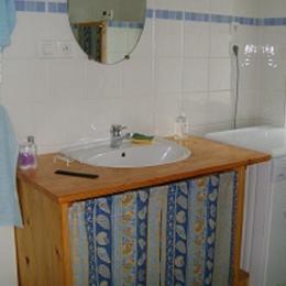 salle de bain: coin lavabo et lave linge - Location de vacances - Saint-Guyomard