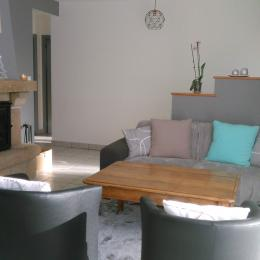 coin salon avec cheminée - Location de vacances - Meslan