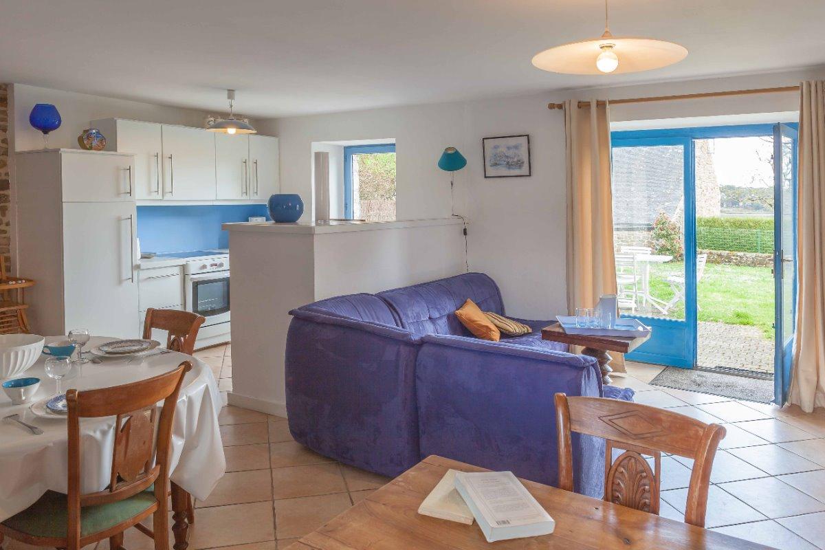 pièce commune donnant côté Golfe, terrasse et jardin - Location de vacances - Arradon
