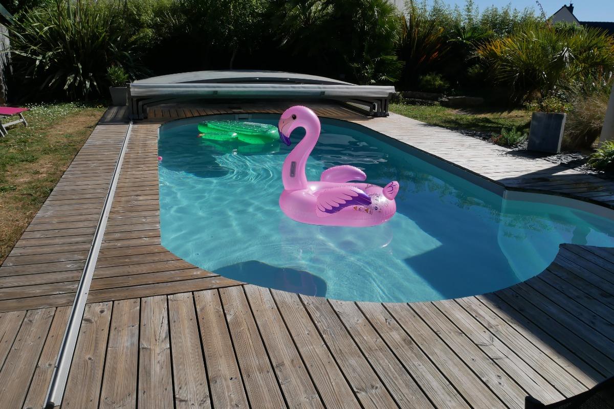 La vue du salon : la piscine et son jardin paysagé - Location de vacances - Erdeven