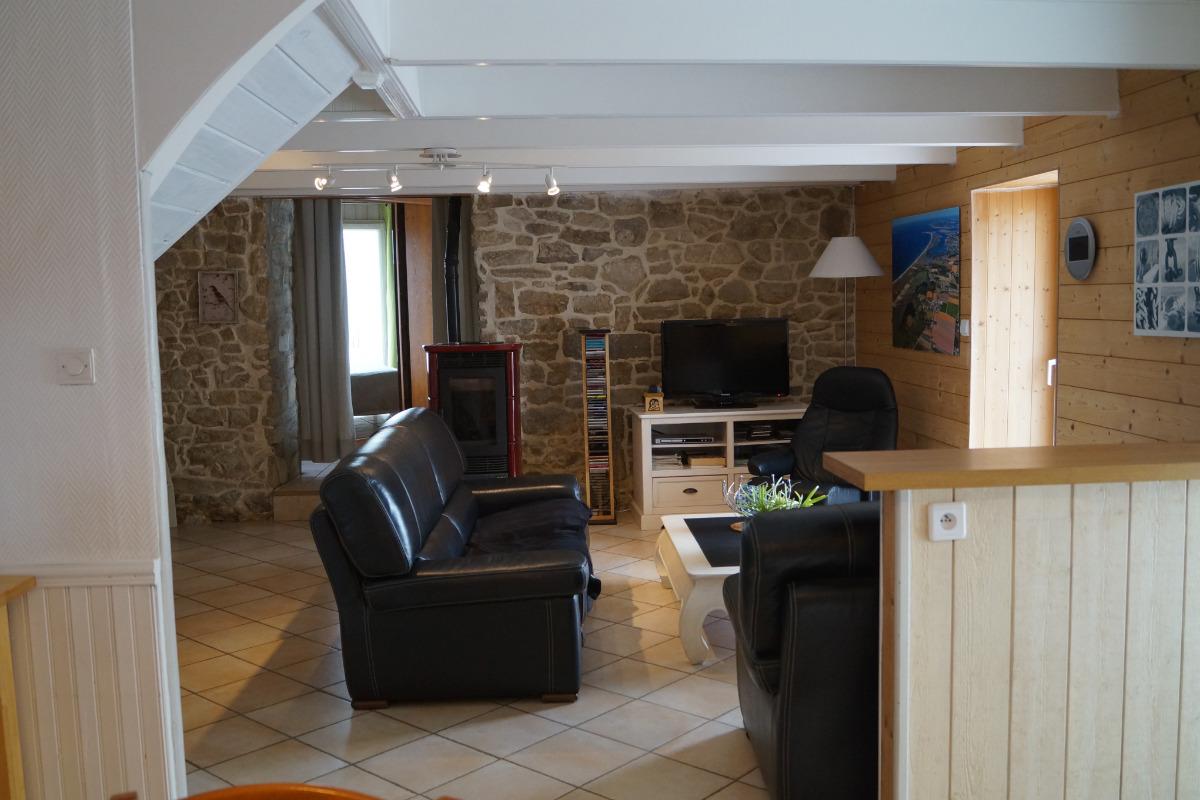 salon vu de la cuisine - Location de vacances - Plouhinec