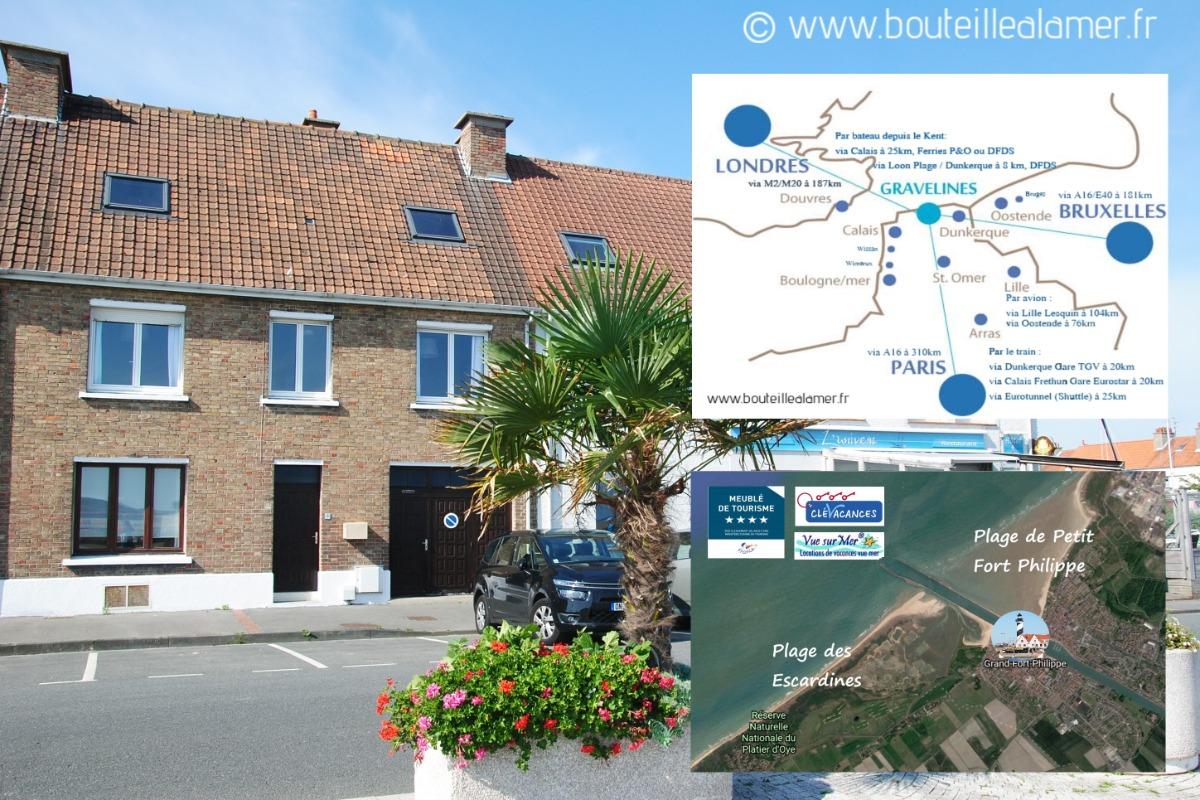 Vue Satellite Gd & Pt Fort Philippe & maison avec vue sur le chenal - Location de vacances - Grand-Fort-Philippe