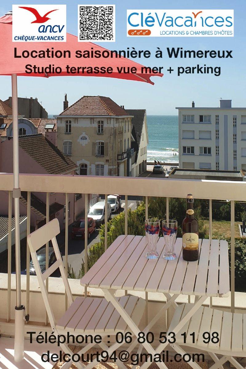 Vue mer de la terrasse  STUDIO Résidence  AURORE  - Location de vacances - Wimereux