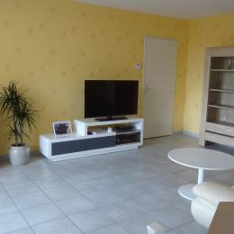 Le salon donne également sur la terrasse et est équipé d'un canapé en cuir, une TV 121cm et un lecteur Blu ray - Location de vacances - Issoire