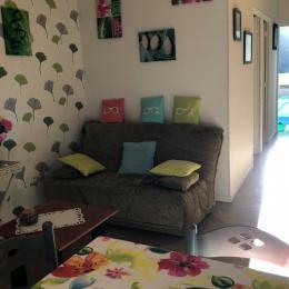 cuisine à l'américaine avec un espace salon et  canapé lit - Location de vacances - Mont-Dore
