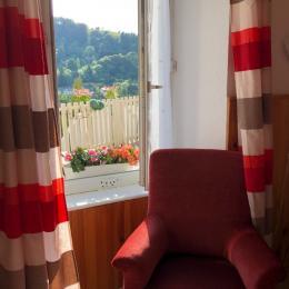 Décoration du studio pimpante et gaie, fauteuil pour lire ou regarder TV - Location de vacances - Mont-Dore