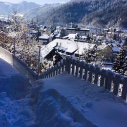 Vue de notre propriété, vue panoramique + endroit où vous passez pour aller dans notre jardin commun - Location de vacances - Mont-Dore