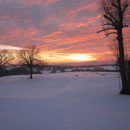 coucher de soleil vu du gîte - Location de vacances - Vernet-la-Varenne