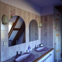 Salle de bain de ARAGON. Le WC privatif est séparé de la SDB pour un meilleur confort - Chambre d'hôtes - Saint-Faust
