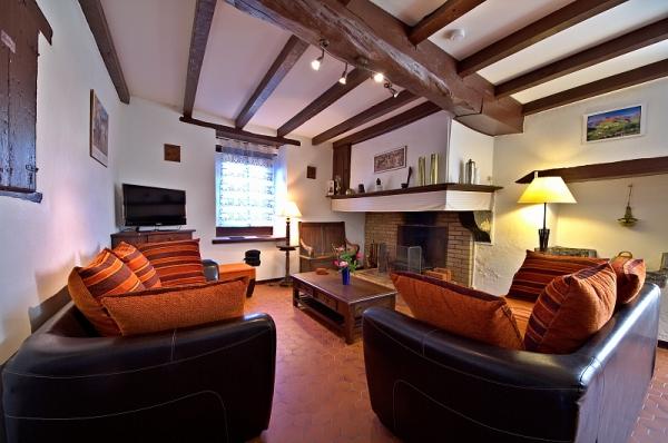 Salon avec cheminée, TV, lecteur Cd, bibliothèque, jeux - Location de vacances - Amendeuix-Oneix
