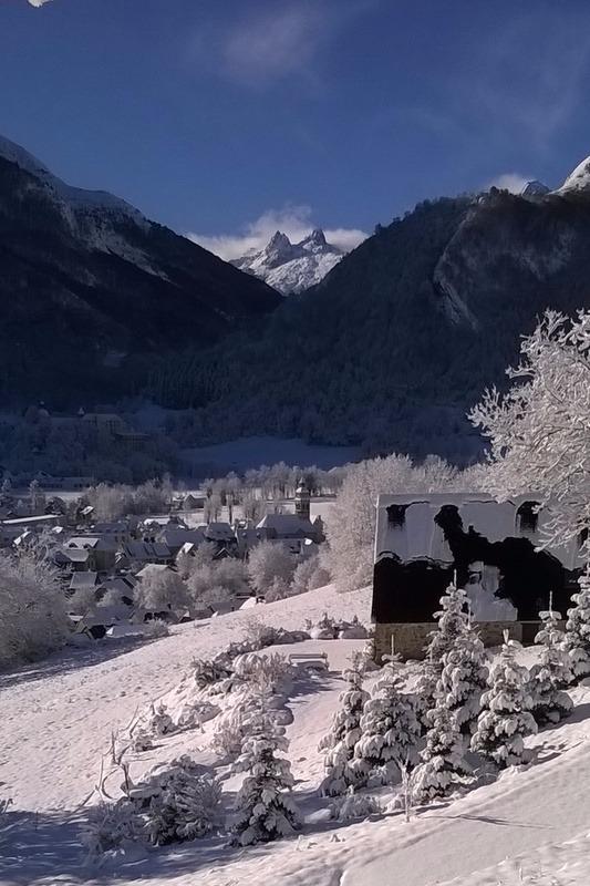 Vue sur le village sous la neige - Location de vacances - Arrens-Marsous