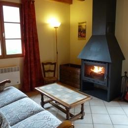 Le coin salon avec cheminée - Location de vacances - Arrens-Marsous