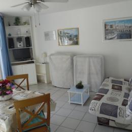 Coin TV -Hifi - Canapé lit - 2 Lits pliants pour les jeunes - Location de vacances - Le Barcarès