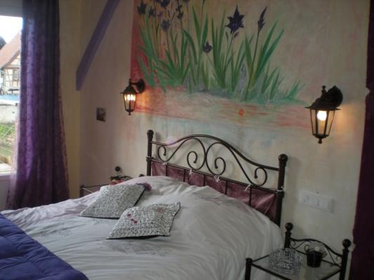 lit avec vue sur la rivière - Chambre d'hôtes - Muttersholtz