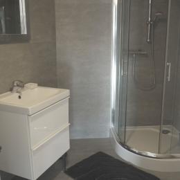 Salle de bain avec douche et lave-linge - Location de vacances - Rosheim