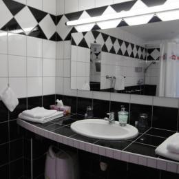 La salle d'eau avec grand plan vasque - Chambre d'hôtes - Blaesheim