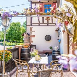 Votre terrasse, la maison du propriétaire au fond, le gîte à droite - Location de vacances - Wissembourg