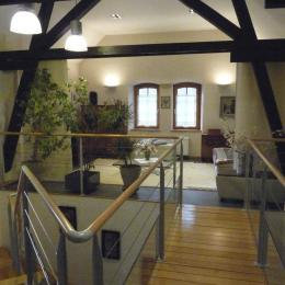 vue sur la mezzanine du 1er étage disposant d'un convertible 2 places et avec la possibilité d'occultation par des stores japonais - Location de vacances - Colmar