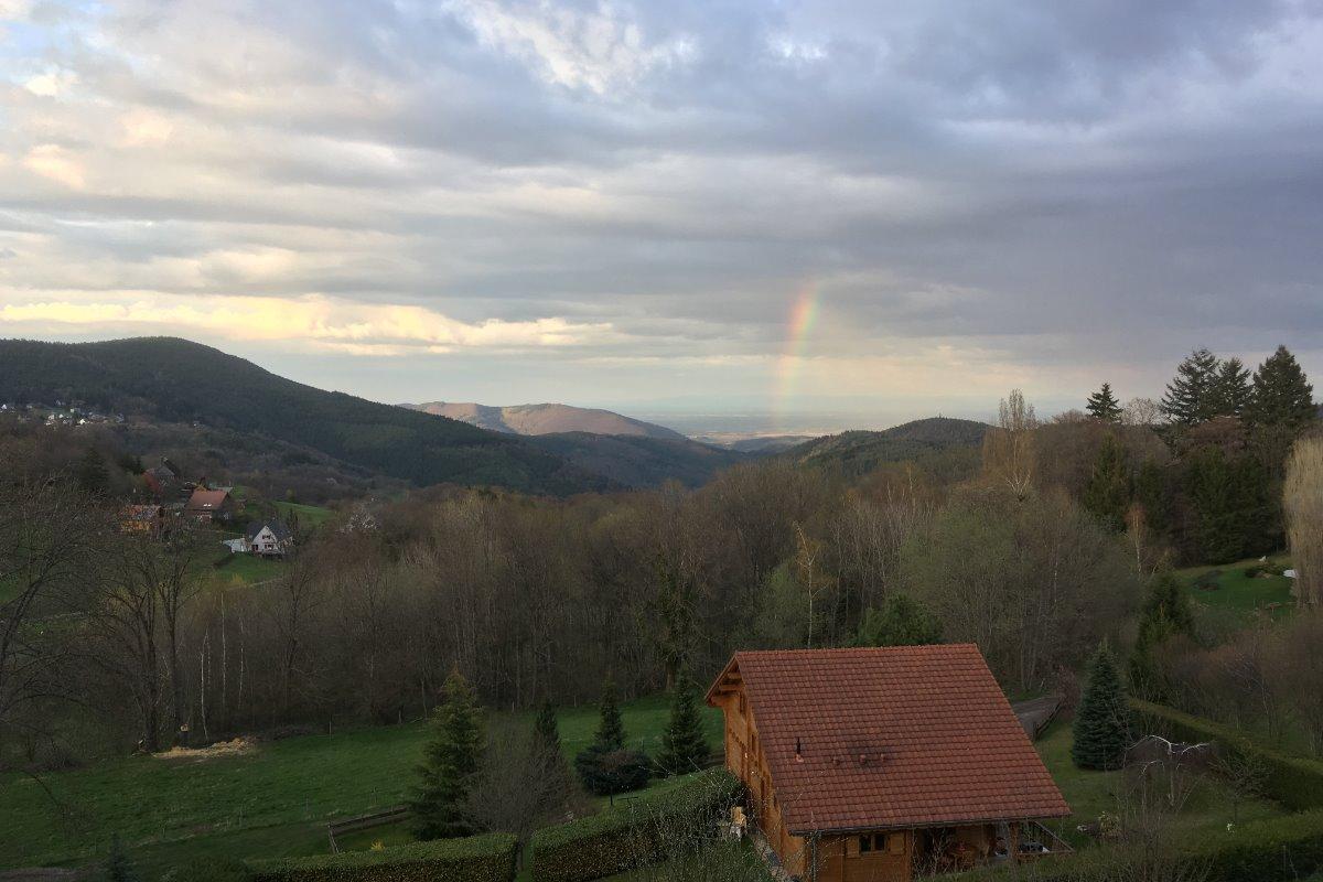 Vue sur la plaine et la Forêt Noire depuis la fenêtre du salon - Location de vacances - Labaroche