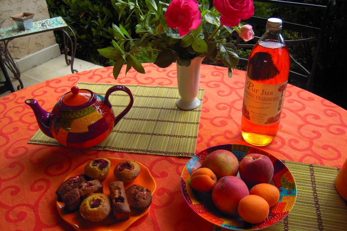 Petit-Déjeuner sur la Terrasse Chambre les Iris - Chambre d'hôtes - Saint-Jean-des-Vignes