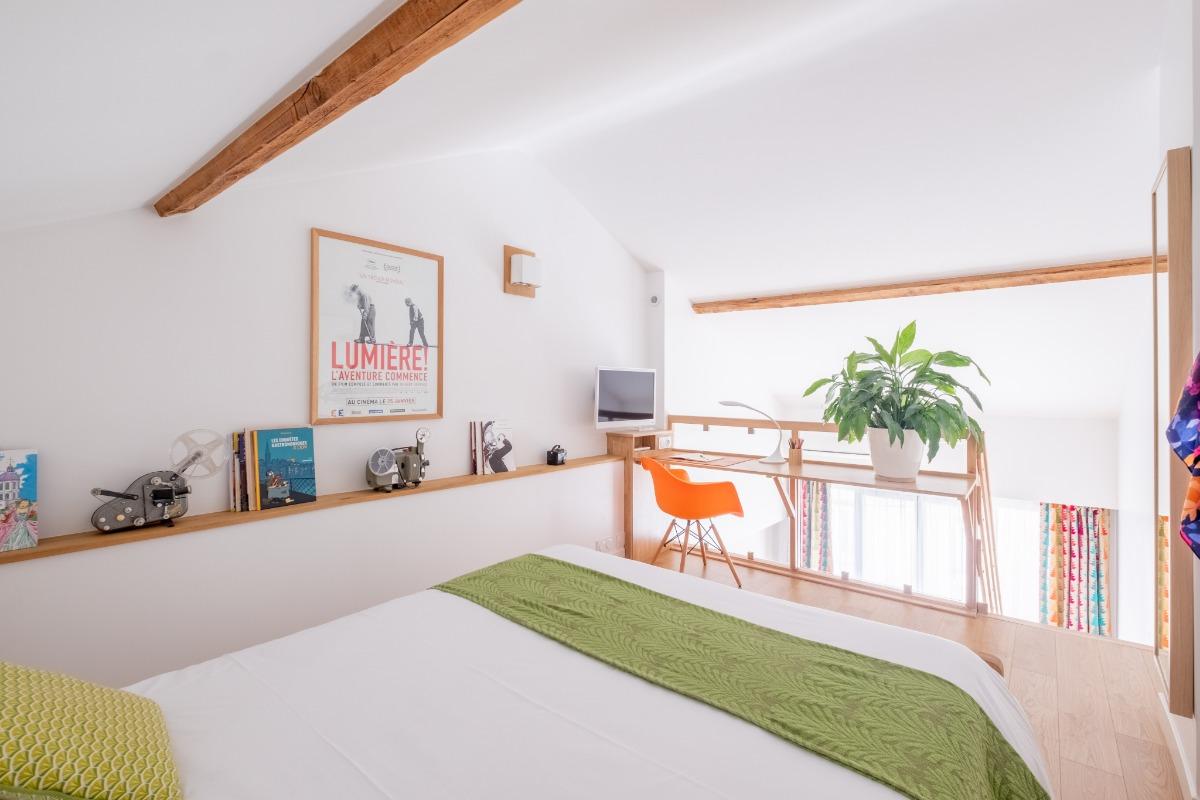 Chambre lit 160 x 200 cm - Location de vacances - Lyon