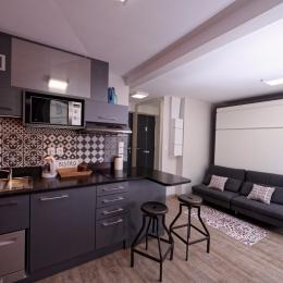 coin cuisine du studio Côté Saône - Location de vacances - Lyon